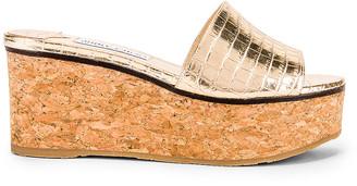 Jimmy Choo Deedee 80 Metallic Embossed Leather Slide in Light Gold | FWRD