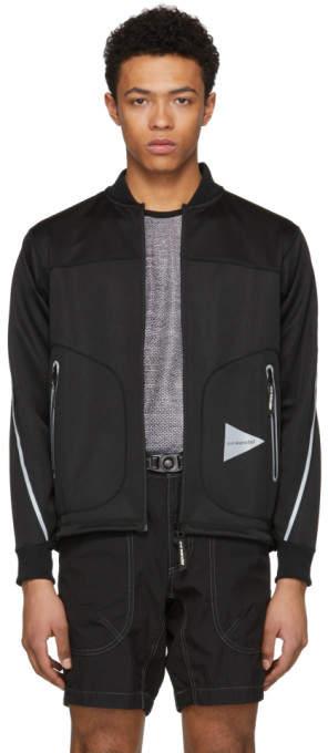 And Wander Black Line Zip Bomber Jacket