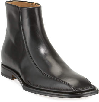 Versace Men's Side-Zip Leather Ankle Boots