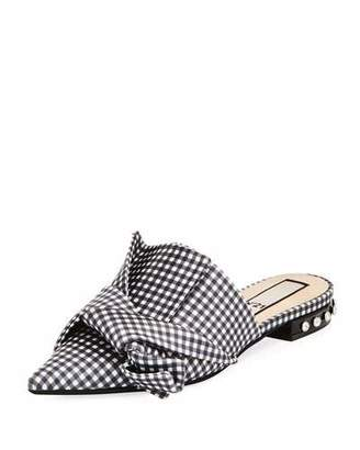 No.21 No. 21 Gingham Flat Slide Bow Mule