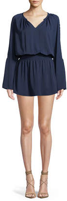 Ramy Brook Briana V-Neck Long-Sleeve Mini Dress