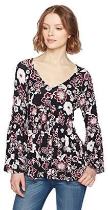 Ella Moon Women's Jade Knit Long Bell Sleeve V-Neck Shirred Empire waist Top