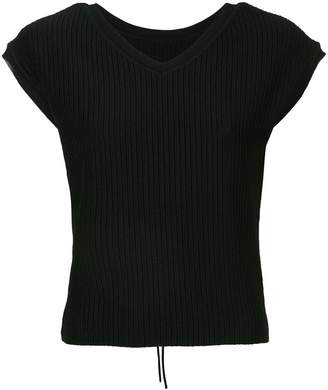 Le Ciel Bleu short-sleeve fitted sweater