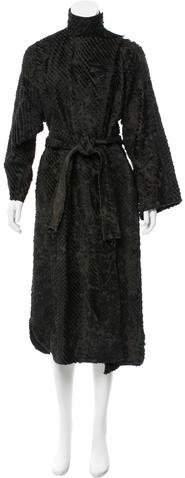 Fendi Fur-Accented Leather Coat