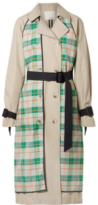 Tibi Hani Convertible Check-paneled Cotton-twill Trench Coat - Beige