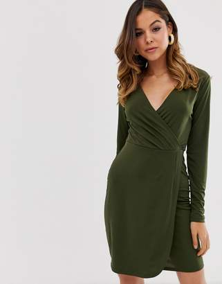 French Connection long sleeved slinky wrap dress