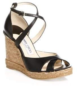 Jimmy Choo Alanah Leather Wedge Sandals