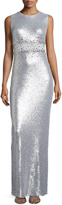 Marina Sequined Illusion Waist Column Gown, Silver $189 thestylecure.com