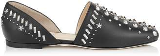 Jimmy Choo GLOBE FLAT Black Nappa Flats with Punk Studs