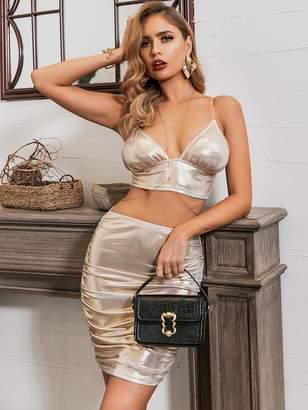 Shein GLAMAKER Zip Back Metallic Cami Top & Ruched Skirt Set