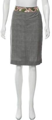 Lela Rose Embellished Plaid Skirt