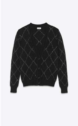 Saint Laurent Cardigan In A Rhinestone Knit