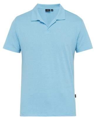Onia Shaun Linen Blend Polo Shirt - Mens - Blue