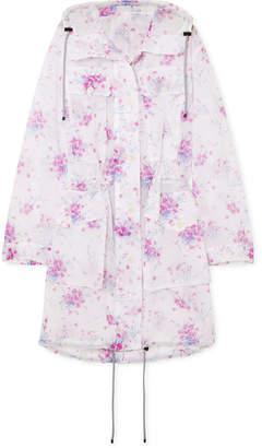 Dries Van Noten Hooded Floral-print Crinkled-organza Coat - Lilac