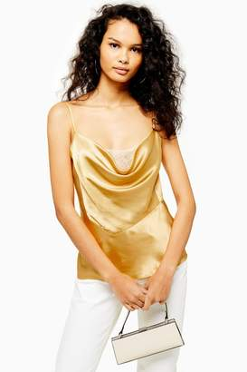 Topshop Womens Gold Lace Cowl Cami - Gold
