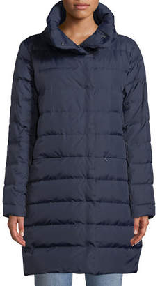 Eileen Fisher Quilted Stand-Collar Cocoon Coat