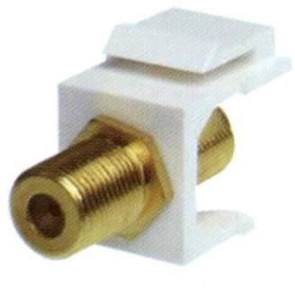 Key Stone NTW F-Type Gold F/F Feed-Through Snap-In keystone Jack Insert, White