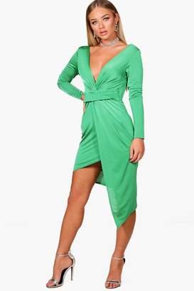 boohoo Slinky Asymmetric Wrap Midi Dress