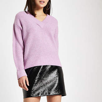 River Island Womens Light purple Luxe ribbed knit V neck jumper