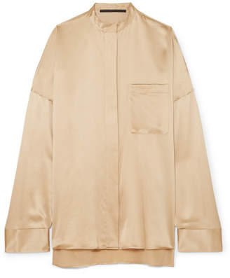 Haider Ackermann Oversized Silk-charmeuse Shirt - Beige