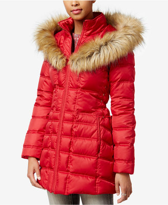 Betsey Johnson Faux-Fur-Trim Hooded Lace-Up Puffer Coat $250 thestylecure.com