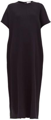 Raey Grown On Sleeve Darted Wool Crepe Midi Dress - Womens - Navy