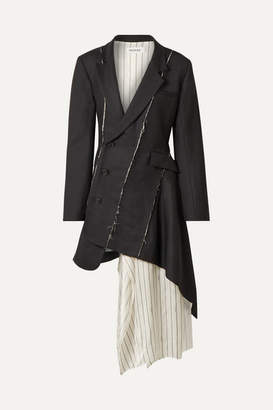 Monse Draped Satin-trimmed Wool-blend Twill Mini Dress - Black