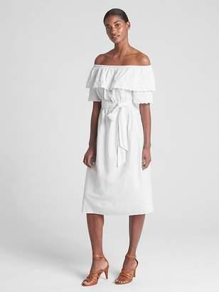 Gap Off-Shoulder Ruffle Eyelet Midi Dress in Linen-Cotton