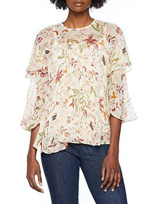 Berenice Women's MAIWEN Longsleeve T-Shirt, Off-White Vegetal Print