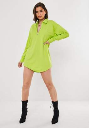 Missguided Lime Zip Front Shirt Collar T Shirt Dress