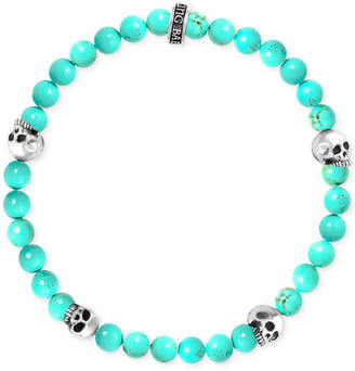King Baby Studio Men's Stabilized Turquoise Bead (6mm) Skull Stretch Bracelet in Sterling Silver