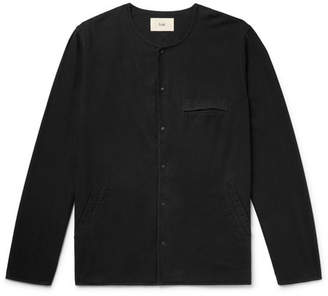 Folk Collarless Cotton Shirt - Black