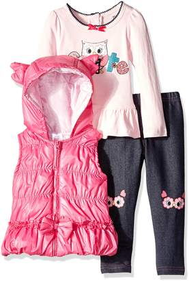 Nannette Little Girls' Toddler 3 Piece Cute Owl Vest Set with Costume Vest and Knee Patch