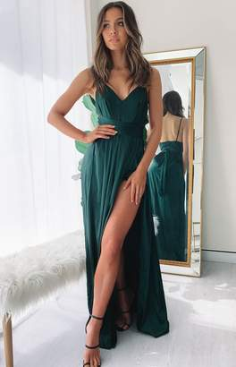 Beginning Boutique Katrina Split Maxi Dress Green