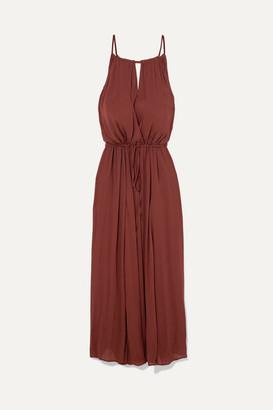 SU Paris - Nula Belted Crepe Maxi Dress - Burgundy