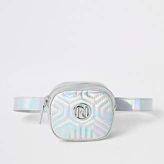 River Island Girls silver holographic RI quilted bum bag