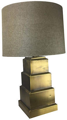One Kings Lane Vintage 1980s Geometric Brass Table Lamp - Uptown Found