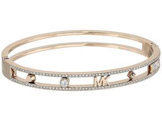Michael Kors Heritage In Full Bloom Pave Rimmed Bangle with Logo