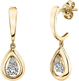 Sirena 1/8 CT. T.W. Genuine White Diamond 14K White Gold Drop Earrings