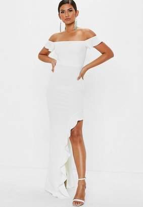 Missguided Tall White Bardot Frill Maxi Dress