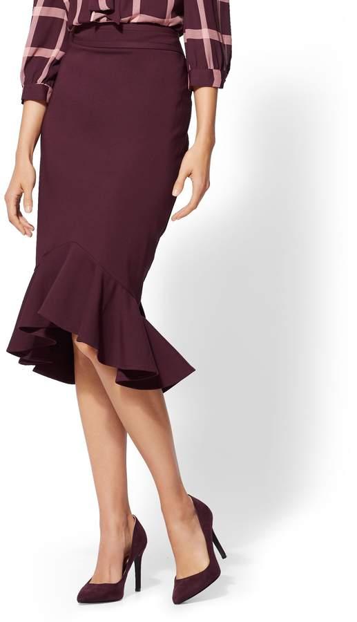 New York & Company 7th Avenue - Petite Ruffled Hi-Lo Skirt