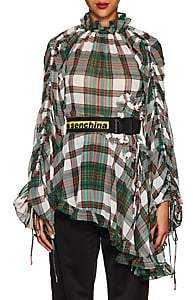 Marianna Senchina Women's Plaid Ruffled Asymmetric-Hem Blouse
