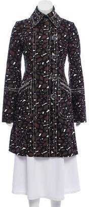 Tuleh Abstract Print Raw-Edge Coat