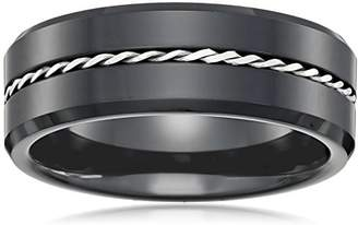 Cold Steel Black Ceramic and Silver Ring