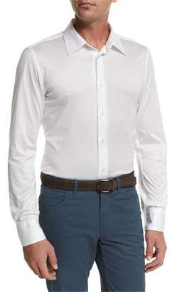 Brioni Knit Button-Front Shirt, White