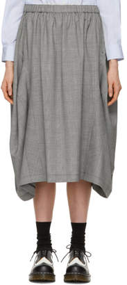 Comme des Garcons Grey Wool Check Side Panel Skirt