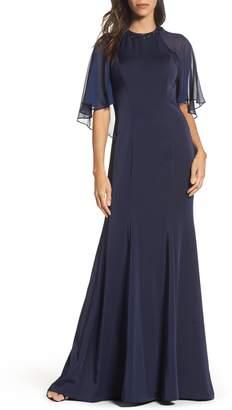 La Femme Cape Illusion Gown