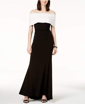 Vince Camuto Off-The-Shoulder Colorblocked Gown