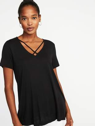 Old Navy Lace-Up-Yoke Swing Top for Women