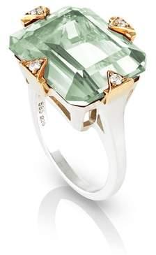 MANIAMANIA Prasiolite Cocktail Ring with Diamonds